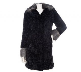 Dennis Basso Crushed Faux Fur Coat with Collar and Cuff Trim   A229282