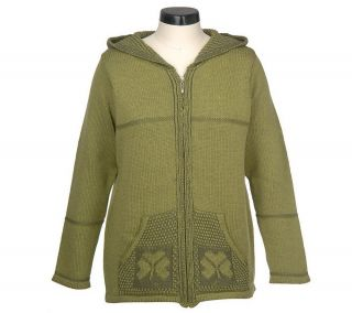 Aran Craft Merino Wool ZipFront Hooded Cardigan with Shamrock Design