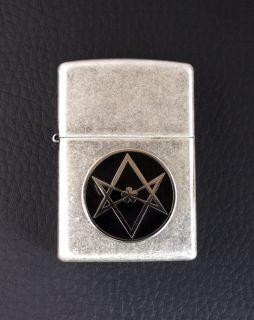Hexagram Zippo Lighter Cigarette Antique Silver Finish Crowley