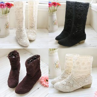 New Womens Shoes Lace Cowboy Boots Breathy Gauze Mid Calf Boots Wedge