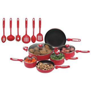 New Chefs Secret 16pc Red Aluminum Cookware Set Glass Lids Utensils
