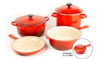 Signature Series Collection 6 PC Cherry Red Cookware Set New