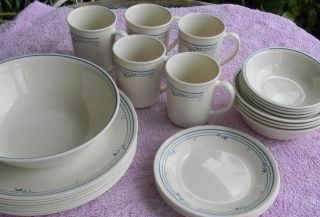 28 Pc Corelle Country Violet Dinnerware Plates Bowls Cups Dishes beigh