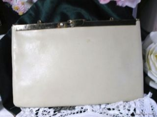 Bone Cream Soft Leather Handbag Etra Clutch Purse Bag