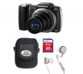Olympus 14MP 18X Optical Zoom Digital Camera Kit w/4GB SD Card