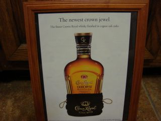 Framed Crown Royal Cask 16 Advertisement Newest Jewel bar picture