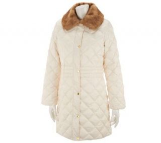 Liz Claiborne New York Quilted Puffer Coat w/ Faux Fur Collar