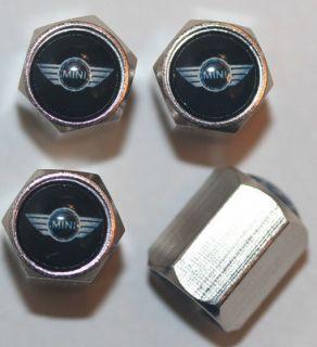 Mini Cooper Black Tire Valve Caps S Cabrio Coupe Clubman Countryman