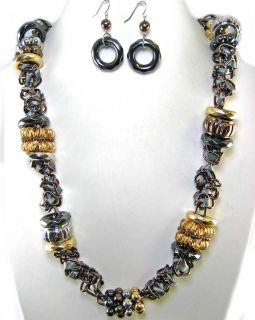 Art Silver Gold Hematite Copper Necklace Set Costume Jewelry