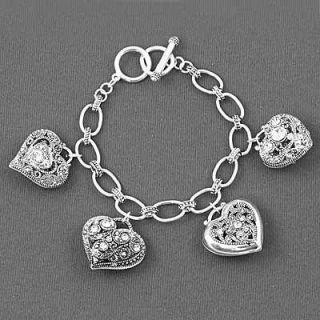 Premier Filigree Crystal Multi Heart Charm Bracelet Brighton bay