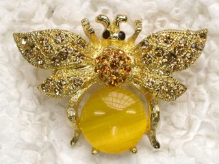 Yellow Rhinestone Crystal Bumblebee Bee Pin Brooch C421