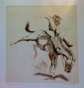 art etching by don crouch cowboy on bucking horse