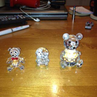 Swarovski Crystal Figurine Bear Plus Two Other Figurines