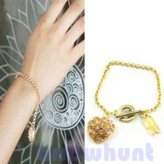 New Crystal Rhinestone Love Heart Ballet Shoes Chain Gift Bracelet
