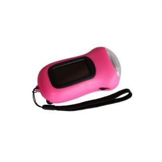Hand Crank Dynamo Solar Power LED Flashlight Torch Pink
