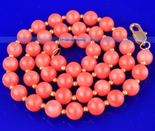 Beautiful 14K Gold GP Clasp 7mm Pink Coral Necklace  GREAT GIFT