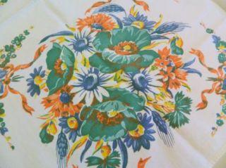 Lovely Vintage Fall Print Tablecloth Poppy Daisy Wheat Wilendur