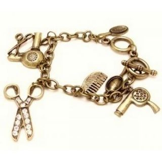 Hair Stylist Charm Bracelet Clear Crystal Scissors Comb Hair Dryer BL