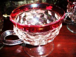 Kings Crown Ruby Flash Elegant Punch Bowl 12 Cups