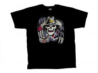 Cowboy Skull T Shirt Cowboy Skeleton Rebel
