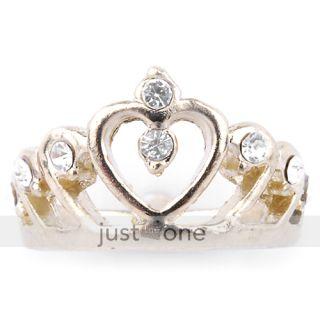 New Fashion Cute Golden Crown Rhinestone Ring US 4 1 2