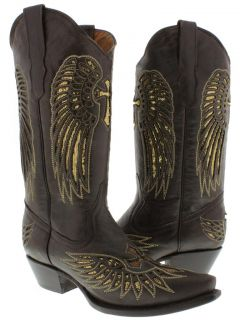 Womens Cowboy Boots Ladies Brown Leather Sequins Western Riding Biker