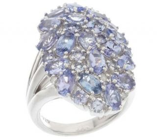 As IsSterling 4.20 ct tw Tanzanite Bold Oval Cluster Ring   J270210