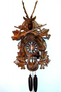 CUCKOO CLOCK BLACK FOREST HAND CARVED WOOD EXTRA LARGE BEAUTIFUL