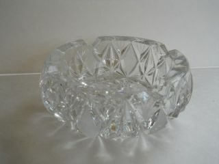 Vintage Heavy Large Cut Crystal Ashtray Brilliant Cut Glass 6 Wide
