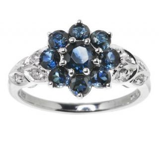 75 ct tw Thai Blue Sapphire and White Zircon Sterling Ring   J271193