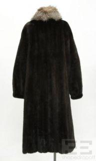 Designer Dark Brown Mink Natural Crystal Fox Fur Coat