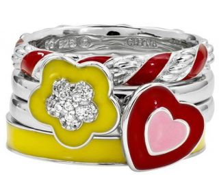 Simply Stacks Sterling Bright Flower Ring Set   J310006