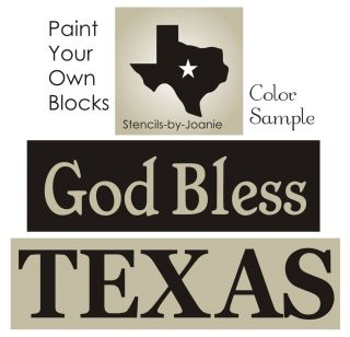Stencil God Bless Texas State Star Country Craft Signs