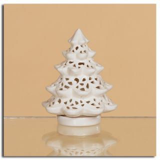 This lace cutout white ceramic Christmas tree tea light candle holder