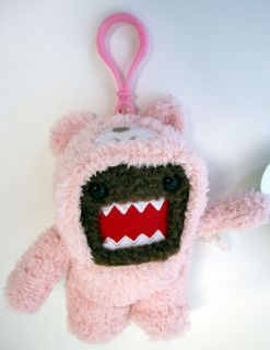 Limited Edition 5 Clip on Domo Pink Teddy Bear Plush Domo Kum Anime
