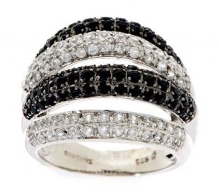 30 ct tw Thai Zircon & Black Spinel Bold Sterling Band Ring