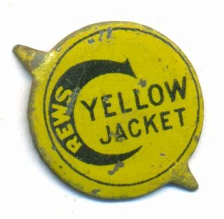 Vintage C Crews Yellow Jacket Painted Tobacco Tin Tag
