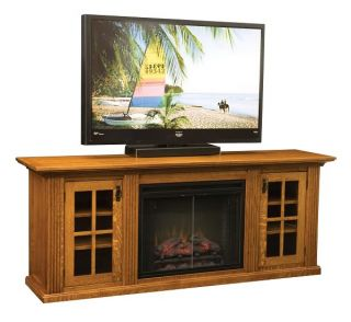 LCD TV Stand Media Cabinet Electric Fireplace Solid Wood Storage