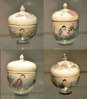 Antique Chinese Hand Painted Porcelain Cups with Lids
