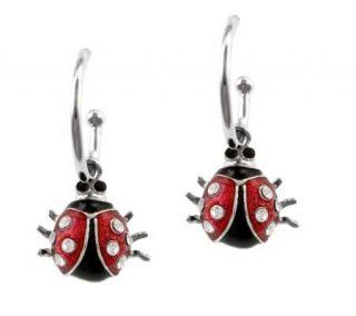Mixers Sterling Enamel Ladybug Charm Hoop Earrings —