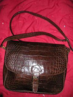 Vintage 80s Cristian Italy Mock Croc Brown Leather Crossbody Saddle