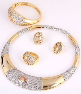 Gold Plated Necklace Bracelet Earring Ring Set w Cubic Zirconia