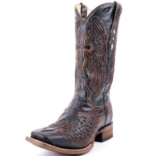 Corral Wing Cross Mens Cowboy Boot Dark Brown with Tan Inlay A1978