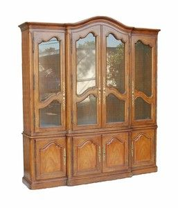 Antique Country French Style Breakfront Curio China Cabinet