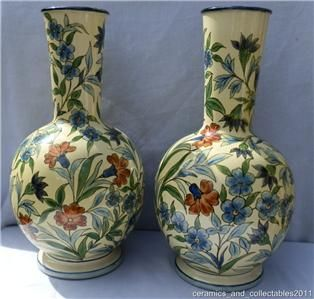 Lambeh Faience Vases. Hand pained by Minna L Crawley. Daed 1871