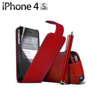 Rojo Funda de Piel Funda Cuero Para Apple iPhone 4S 4 Film Stylus ES