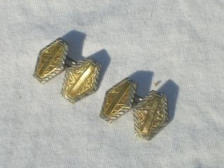 Vtg Art Deco 14k White Yellow Gold Cuff Links Jewelry