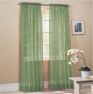 HLC.ME   4 PCS. of Sage Sheer Curtains Window Treatment Panel
