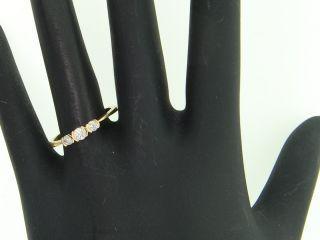 Ladies 14k Yellow Gold 3 Stone Diamond Engagement Ring Round Wedding