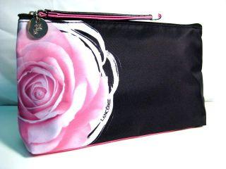 Lancome Black with Pink Rose Cosmetics Makeup Travel Bag NWOT